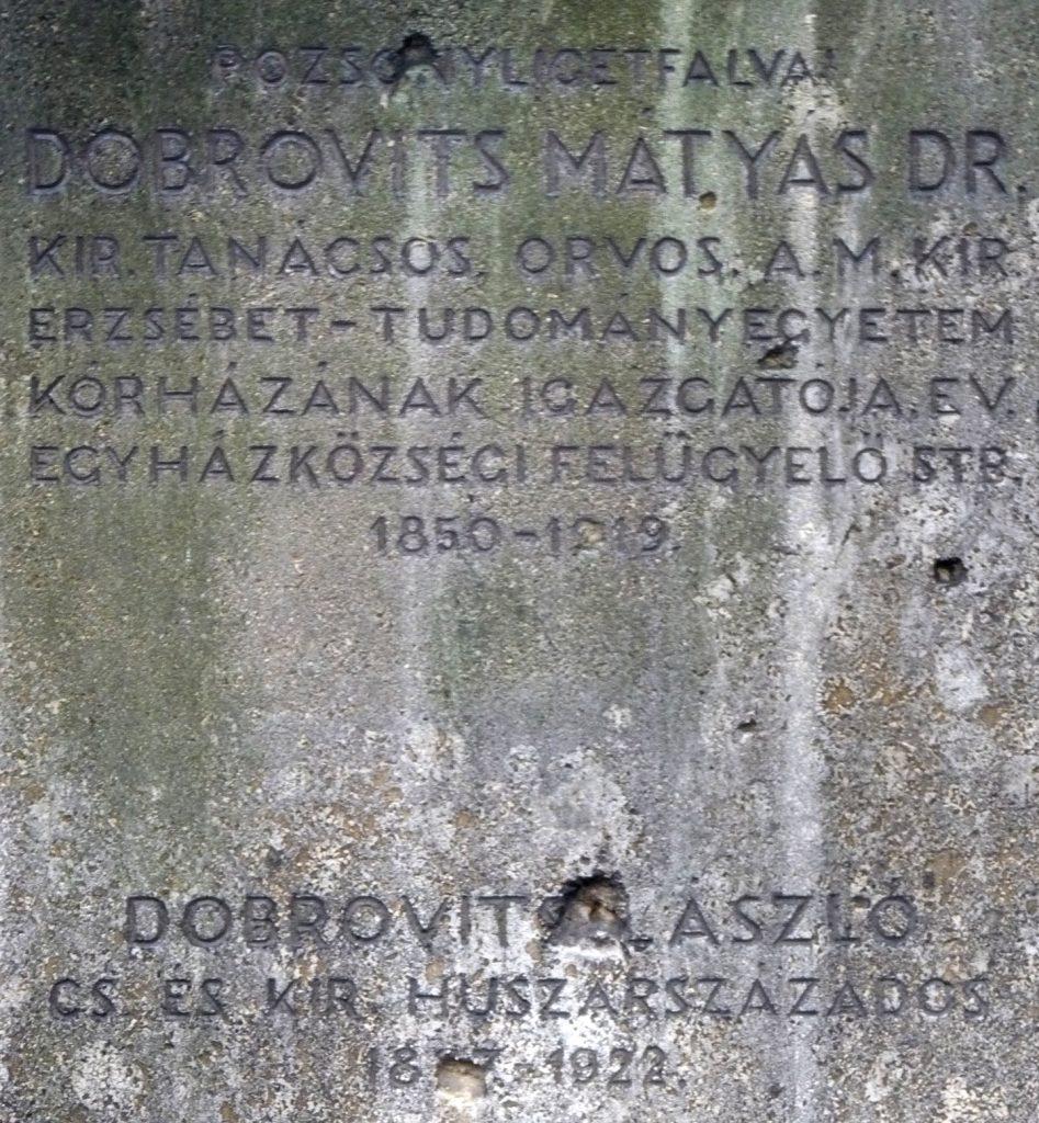 Dobrovits Mátyás sírja
